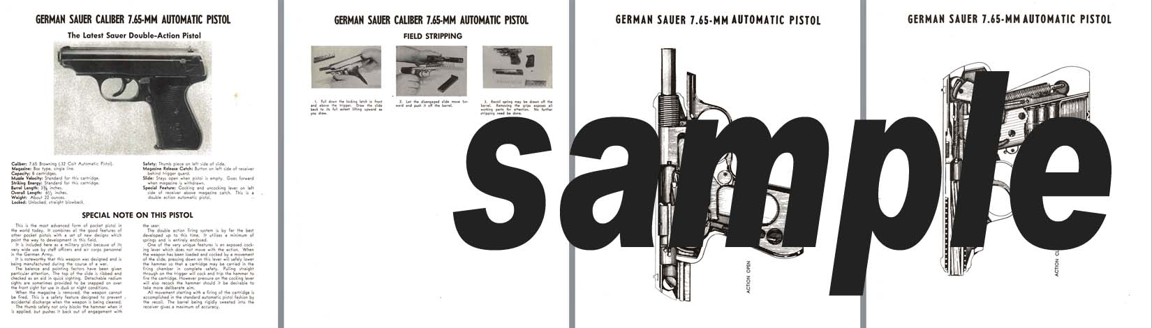 Sauer (German) Caliber 7.65mm Automatic Pistol Manual
