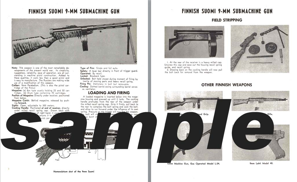 Suomi (Finnish) 9mm Submachine Gun Manual