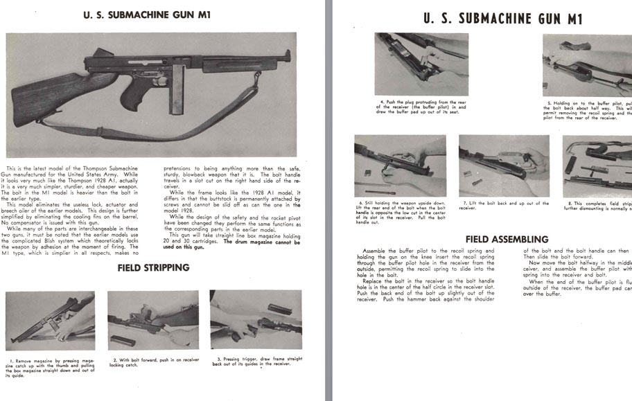 Thompson Submachinegun U.S. M1 Field Stripping