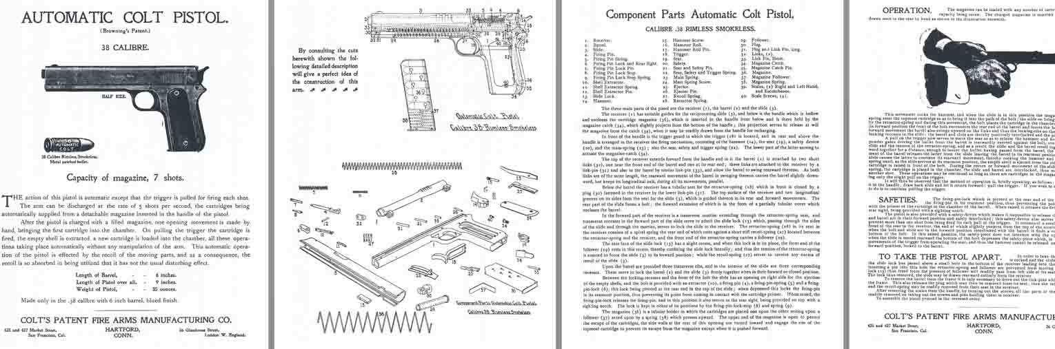 Colt M1902 .38 Automatic Pistol Manual