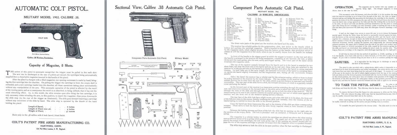 Colt M1902 .38 Military Model Automatic Pistol Manual