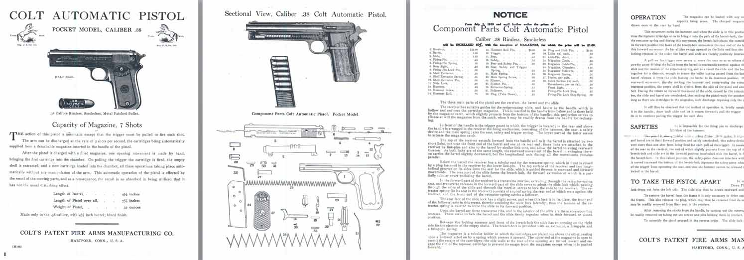 Colt M1902 .38 Pocket Model Automatic Pistol Manual