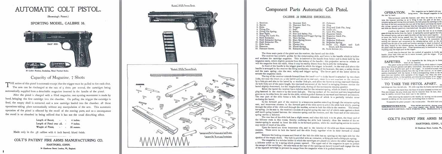 Colt M1902 .38 Sporting Model Automatic Pistol Manual