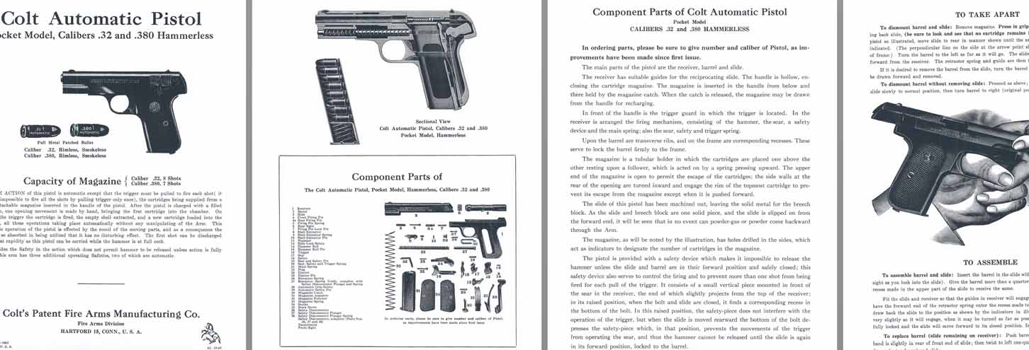 Colt M1903 .32 & M1908 .380 Pocket Automatic Pistols Manual