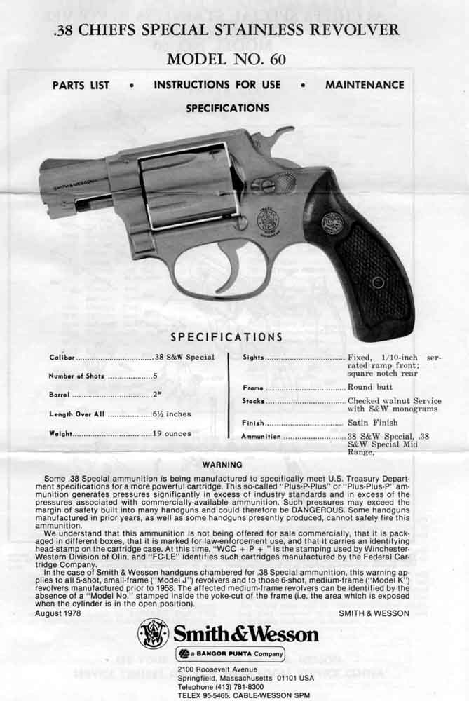 Smith & Wesson Model 60 Owner's Manual