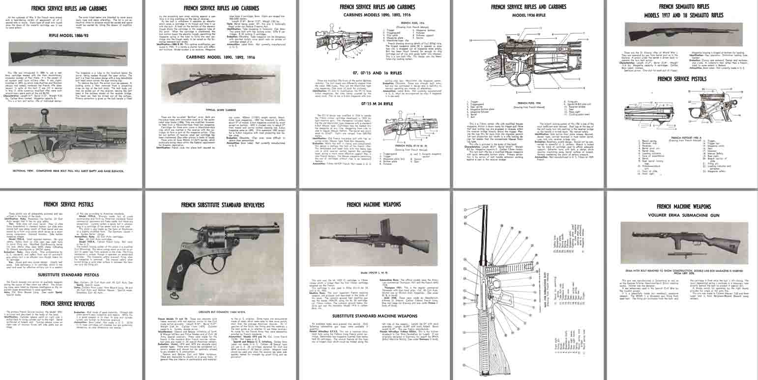 French WWII Service Rifles, Pistols and MGs Characteristics, Operation etc
