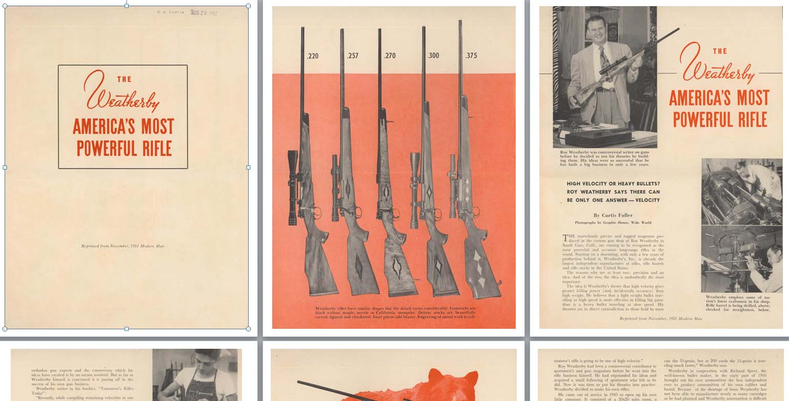 Weatherby 1952 America's Most Powerful Rifle Brochure