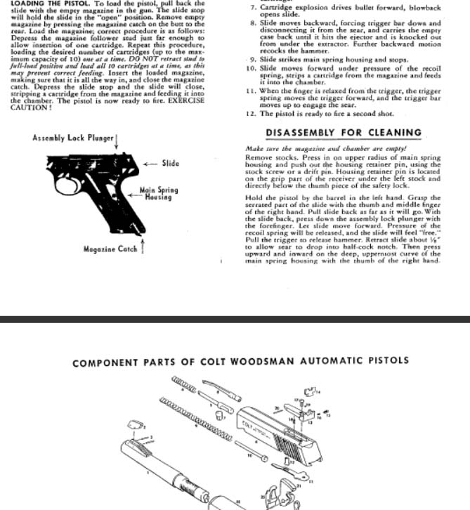 Colt 1965 Woodsman Manual (with Exploded View)