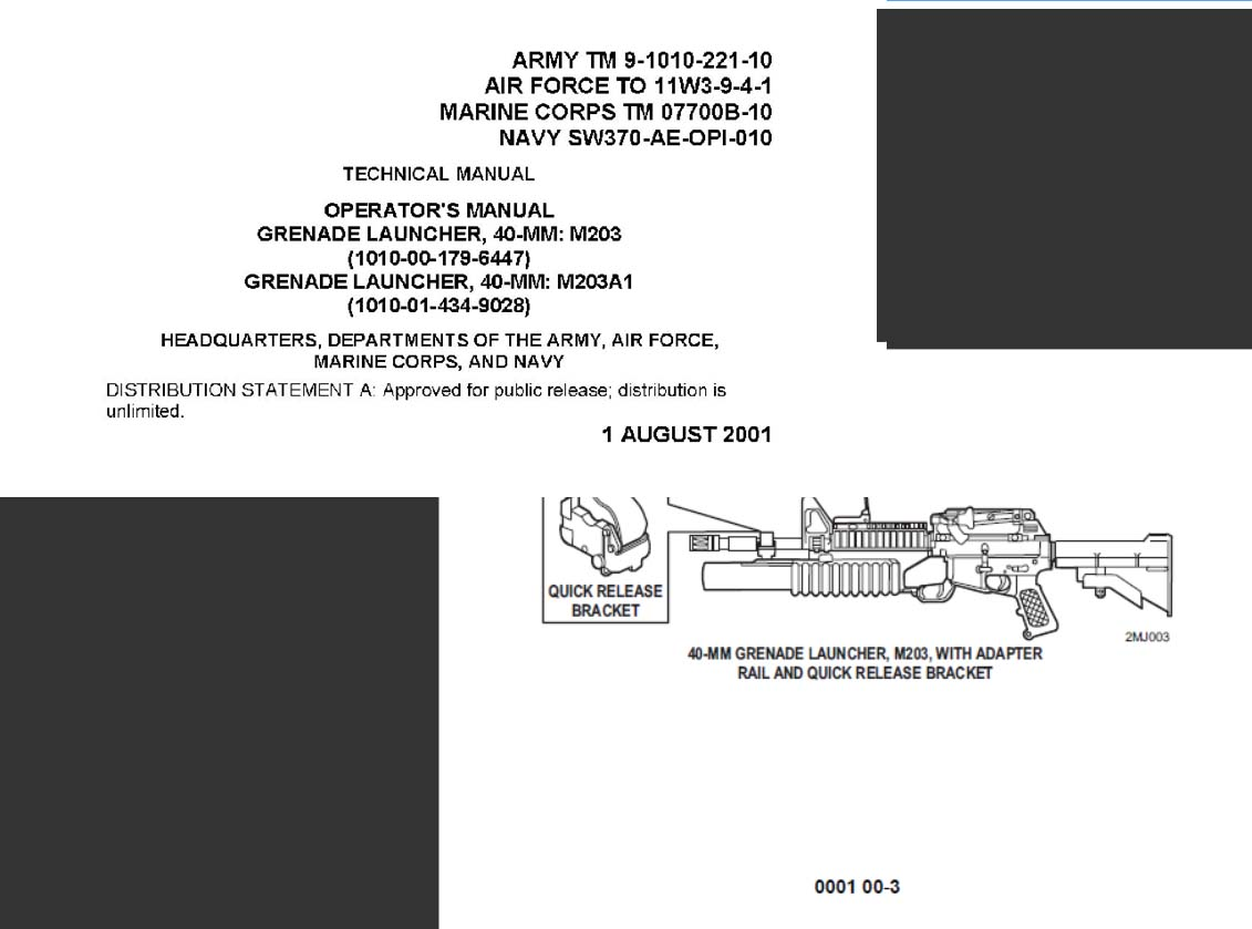 TM 9-1010-221-10 Operator Manual, Grenade Launcher, 40MM: M203