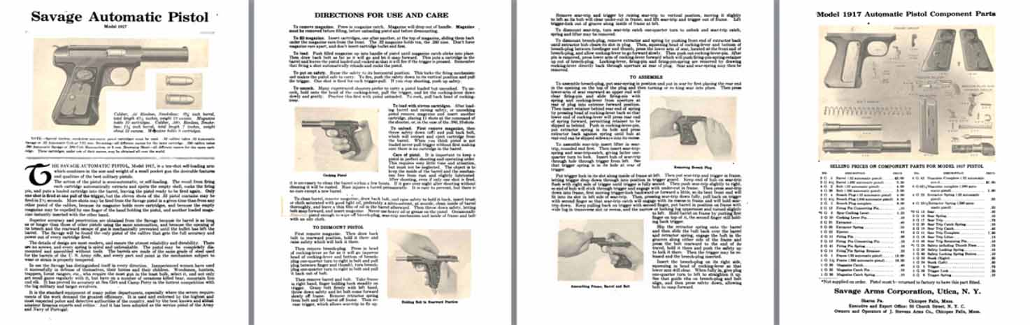 Savage Model 1917 Automatic Pistol Manal