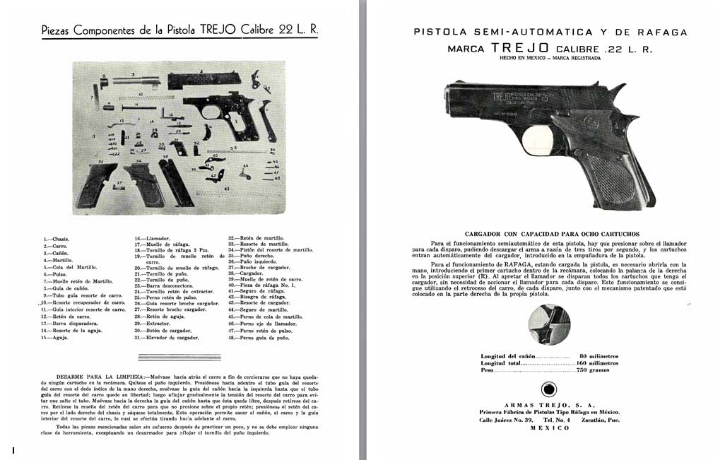 Marca Trejo c1963 Calibre .22 Semi Auto Pistola Parts Flyer (Mexico)
