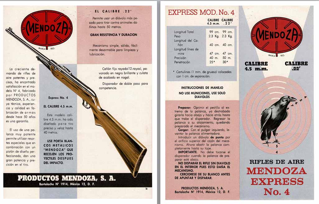 Mendoza c1955 Express No. 4 .22 Rifle Flyer (Mexico)