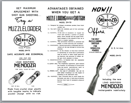 Mendoza c1955 Model EM-70 Muzzle Loading Shotgun and Ammo Flyer (Mexico)