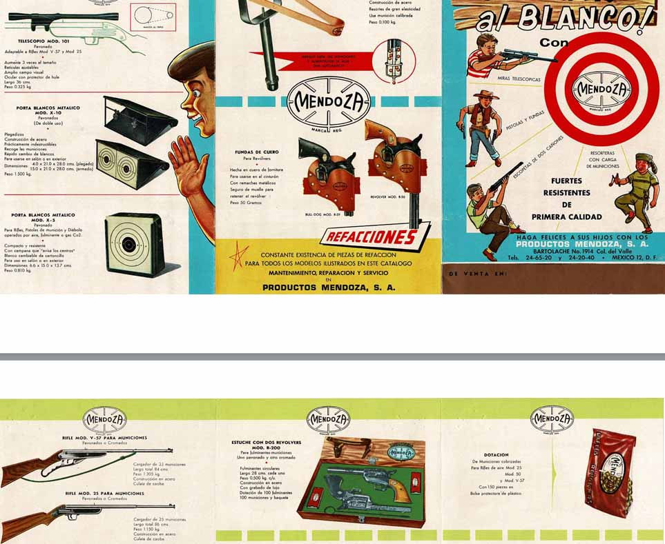 Mendoza c1960 Youth Toys- Pistols, Rifles, Slingshots... Mexican Flyer