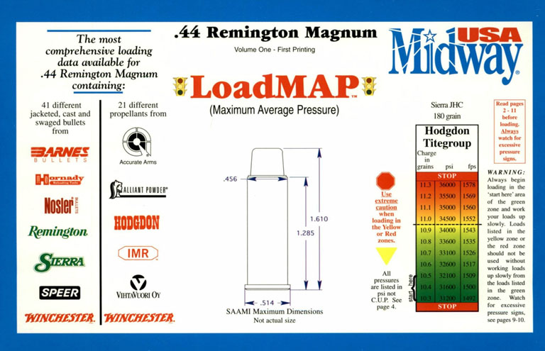 Remington .44 Magnum Load Map (Max Ave Pressure) USA Midway 1998