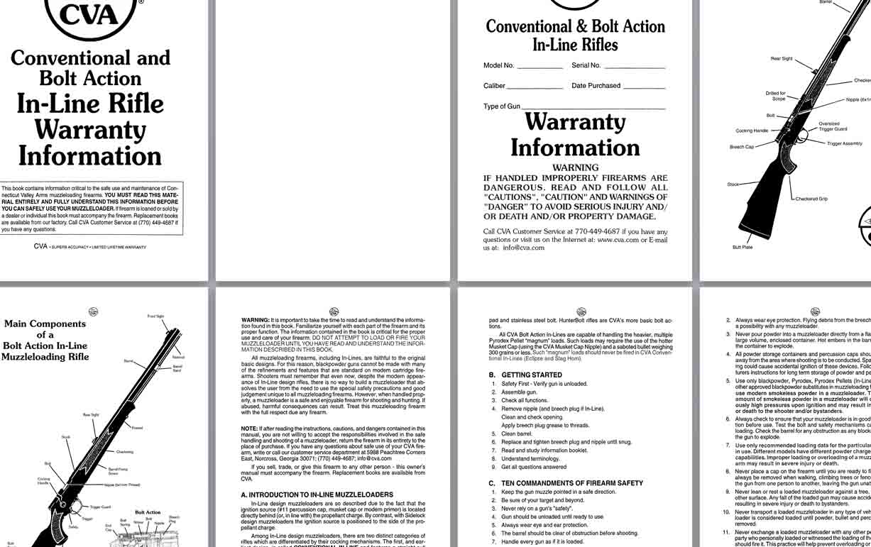 CVA 1999 Bolt-Action-Inline-Warranty-Manual