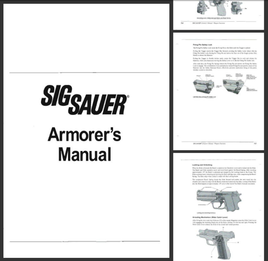 SIG P226, 229, 239 Pistols Armorers Manual- Exeter, NH
