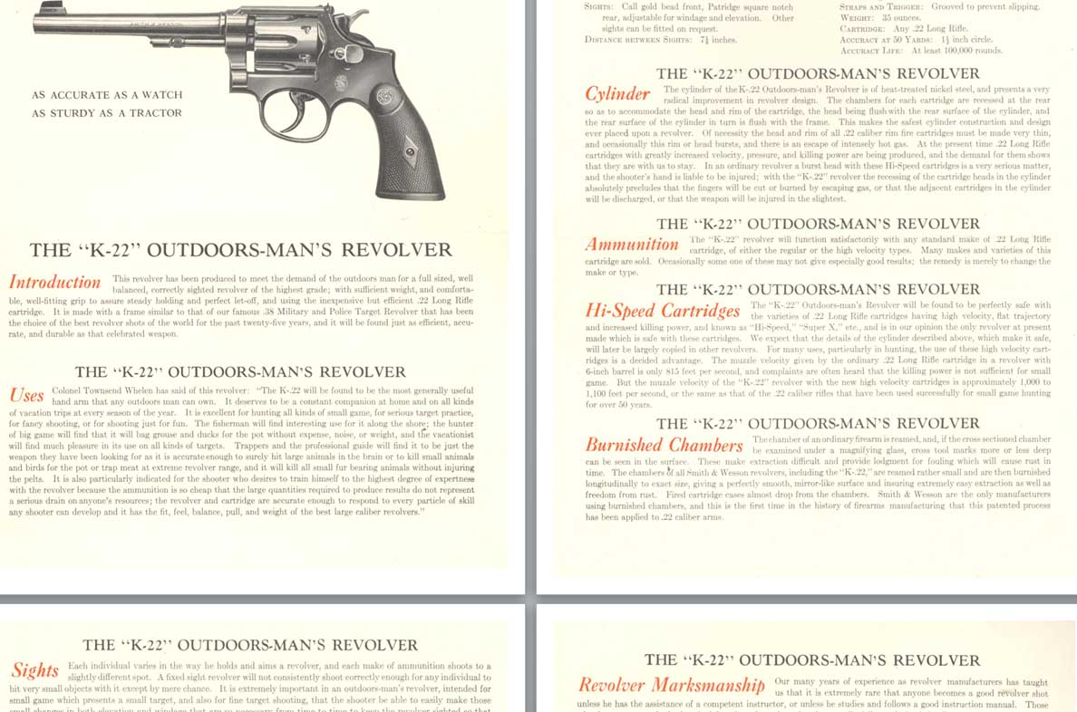 Smith and Wesson c1930 K-22 Outdoors Man's Revolver Flyer