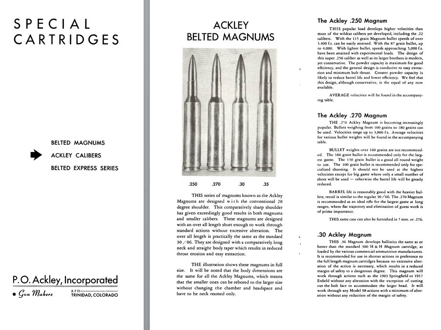 Ackley Special Cartridges Flyer