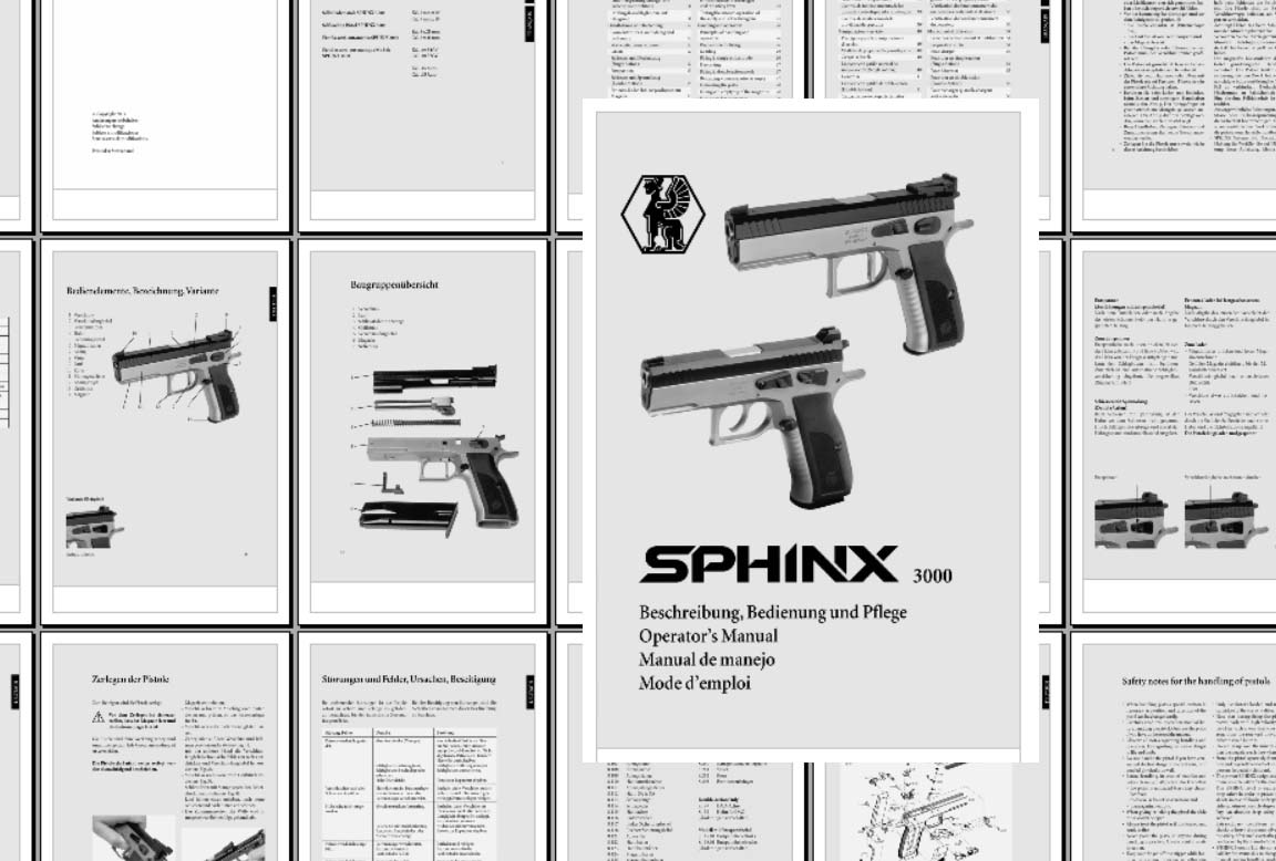 Sphinx 3000 Pistol Manual- English, French, Spanish, German