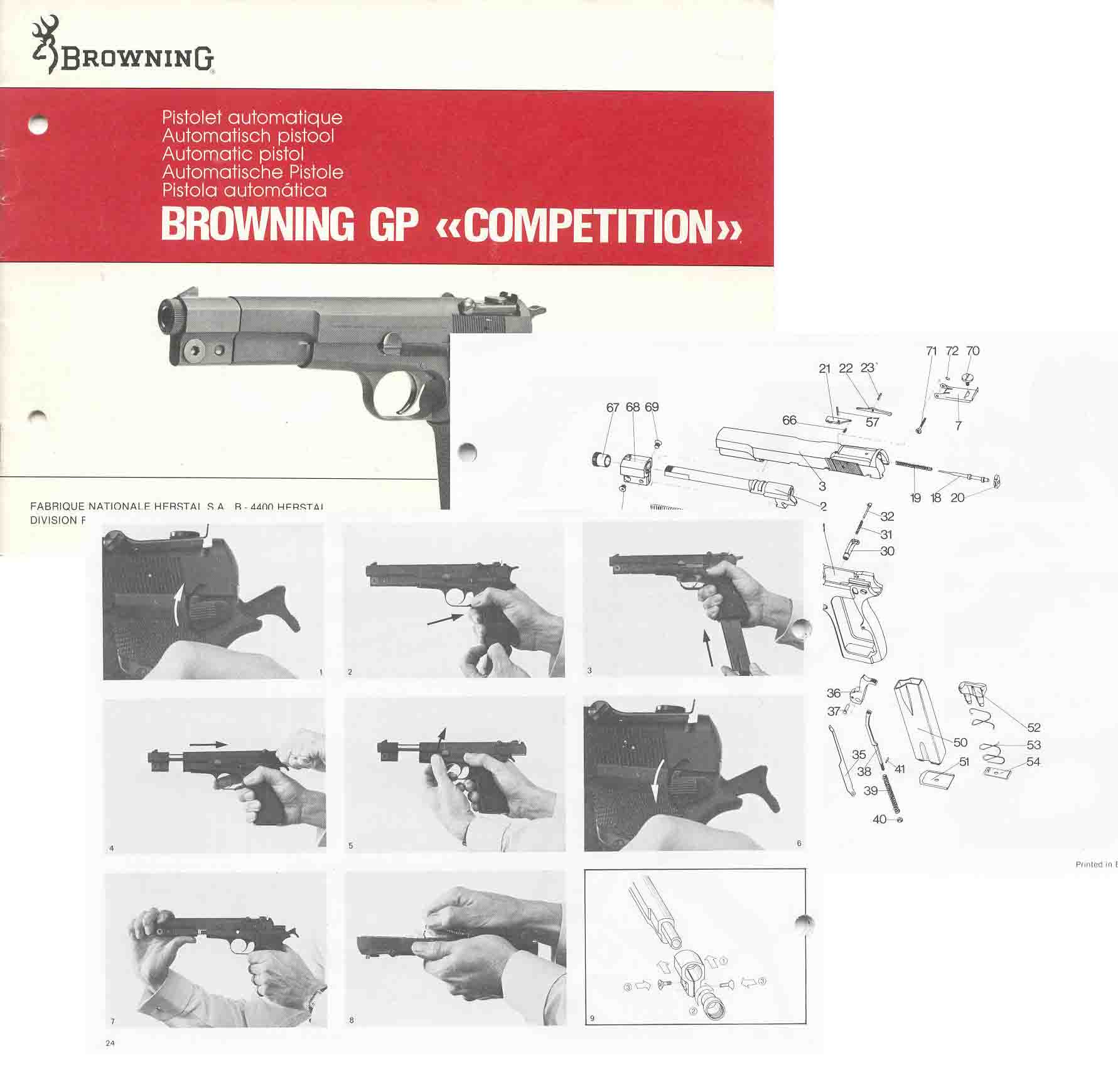 Browning 1980s GP Competition Manual- English, German, French, Italian, Spanish Text