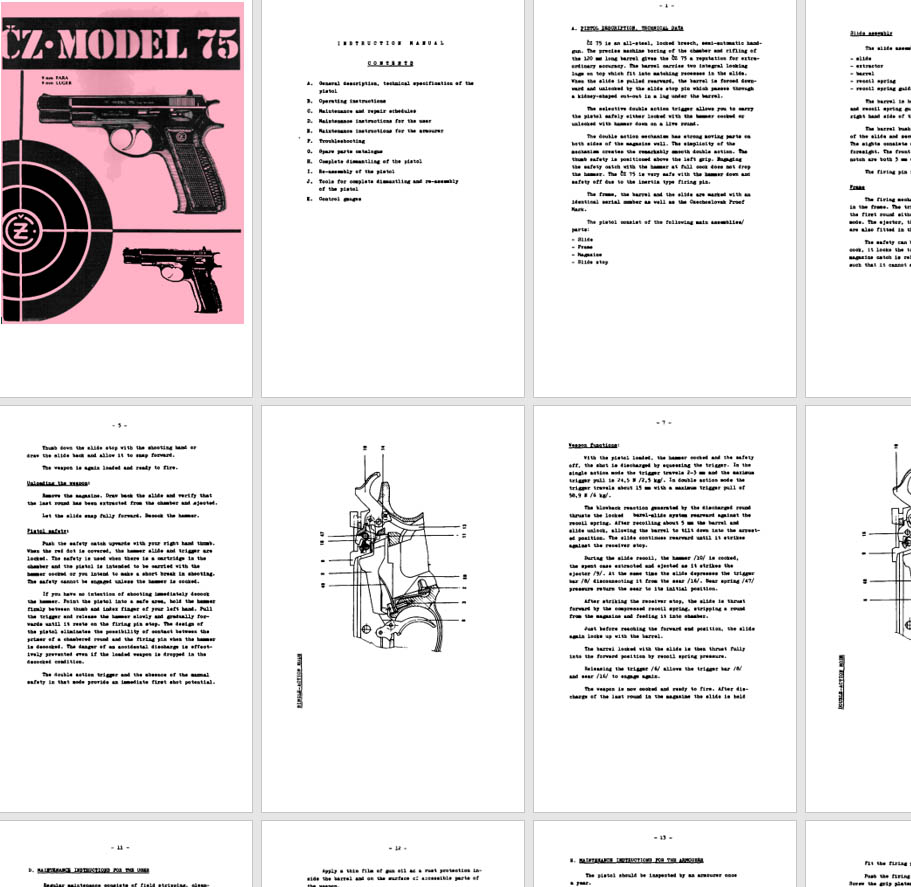 CZ 75 9mm (Para, Luger) Pistol Armourer Manual