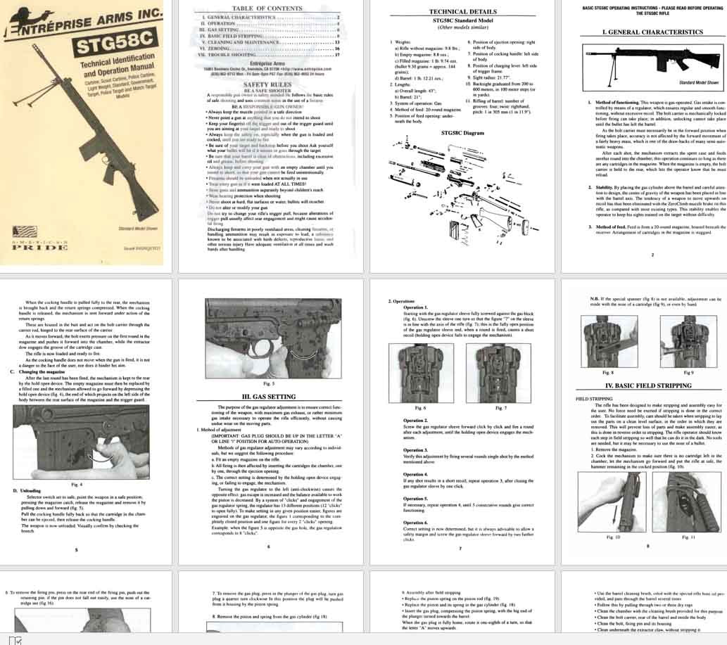 Enterprise STG-58C Rifle Operation Manual