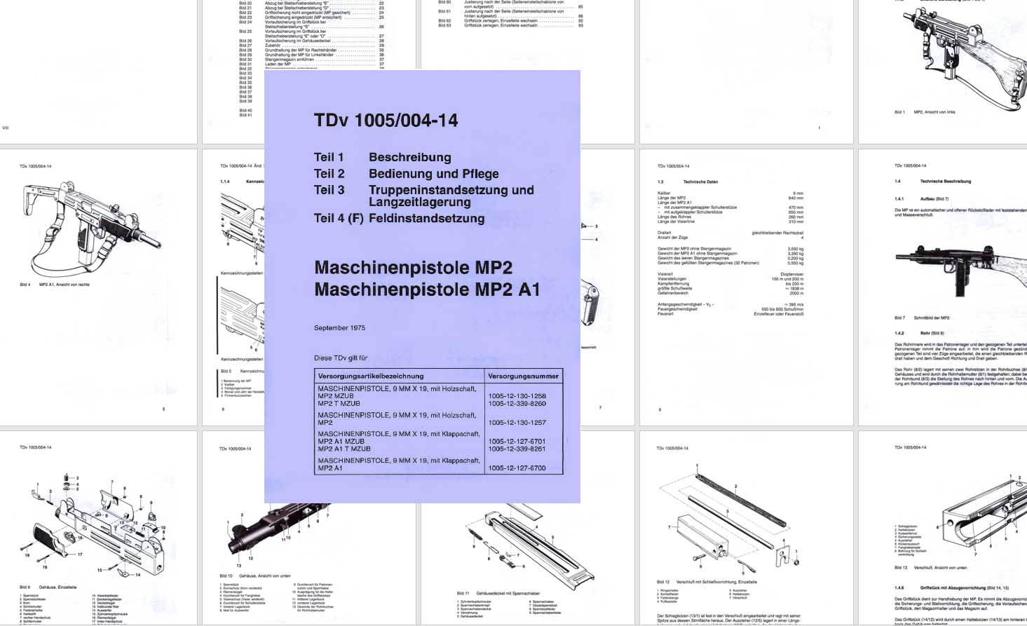 Machinenpistole MP2-MP2A 1975 Manual- TDv 1005/004-14 in German