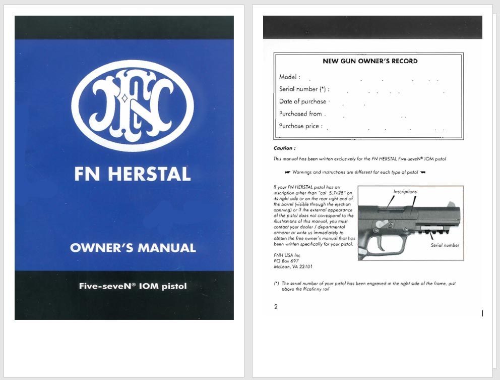 FN 5.7 x 28 mm Herstal Five-seveN 10M Pistol Manual