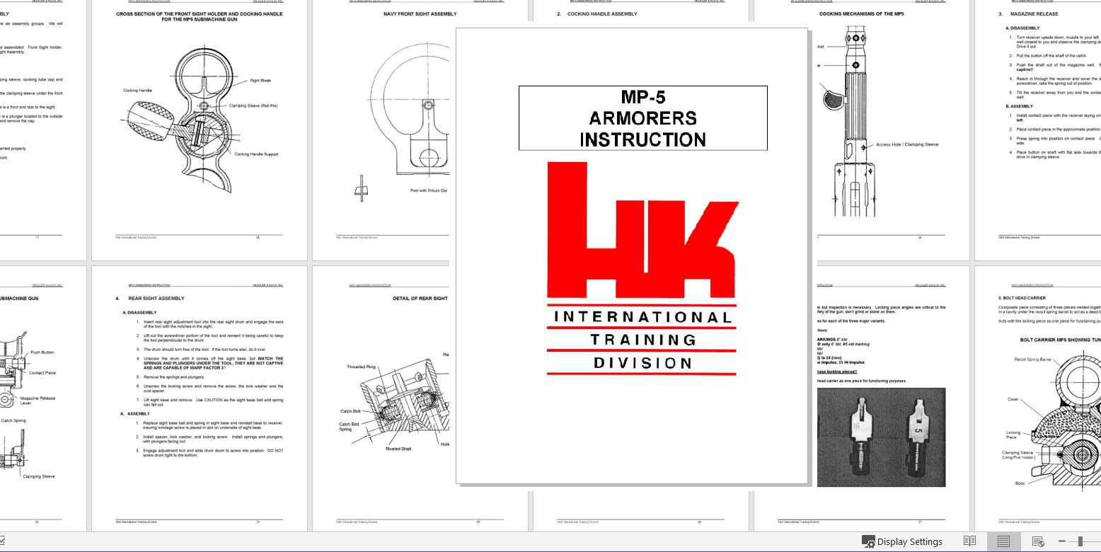 Heckler & Koch MP-5 c1996 Armorers Instruction