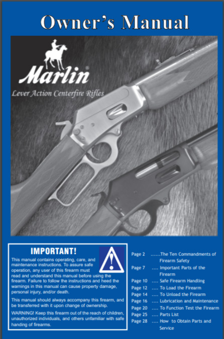 Marlin M308,338,444,1894 & 1895 Lever Action Rifle Manual