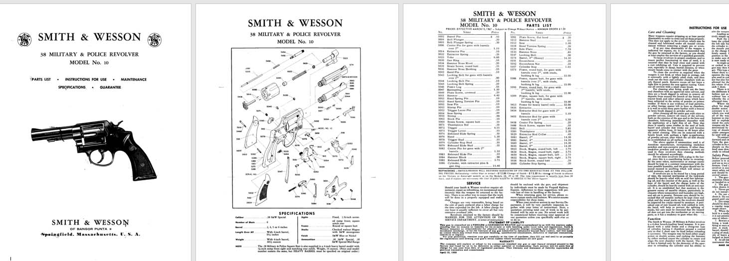 Smith & Wesson Model 10 .38 Military & Police Revolver Manual