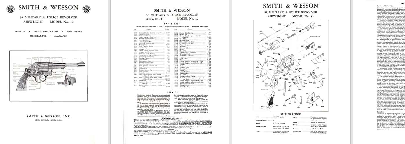 Smith & Wesson Model 12 Airweight .38 Military & Police Revolver Manual