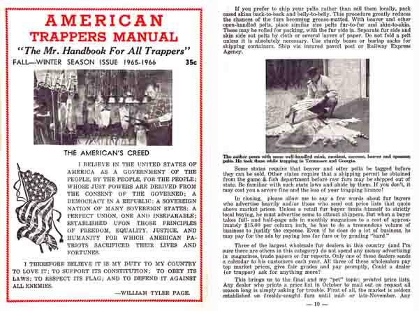 American Trapper's Manual 1965-1966 Catalog