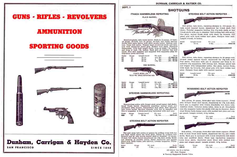 Dunham, Carrigan & Hayden, San Francisco c1950 Gun Catalog
