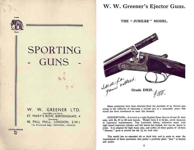 WW Greener c1937 Sporting Guns