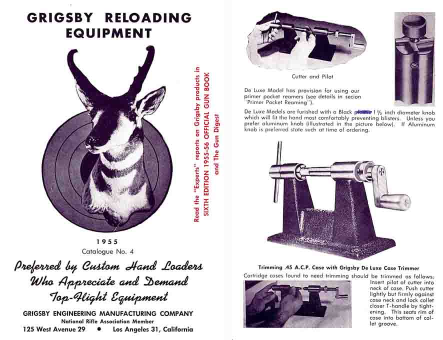 Grigsby Reloading Catalog 1955