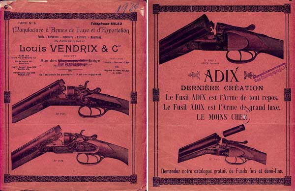 Louis Vendrix (Liege) 1936 Gun Catalog