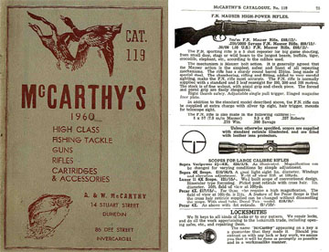 McCarthy's (New Zealand guns & access.) 1960 Gun Catalog