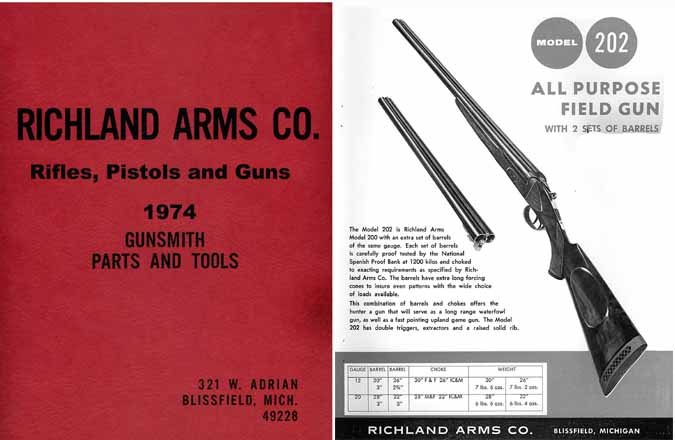 Richland Arms (Blissfield, MI) 1974 Gun Catalog