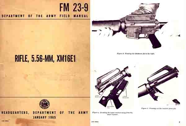 M-16 Rifle 5.56mm XM16E1 1965 Field Manual