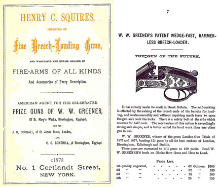Henry C. Squires (Breech Loading Guns) c1878 Gun Catalog (NY)
