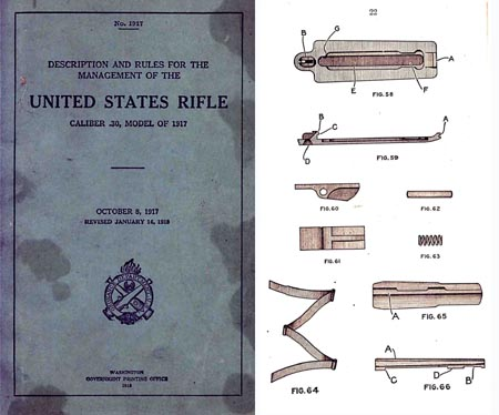 U.S. Rifle Model 1917 Description & Rules- Manual (Lee Rifle - blue) .30 Cal (1918 ed)