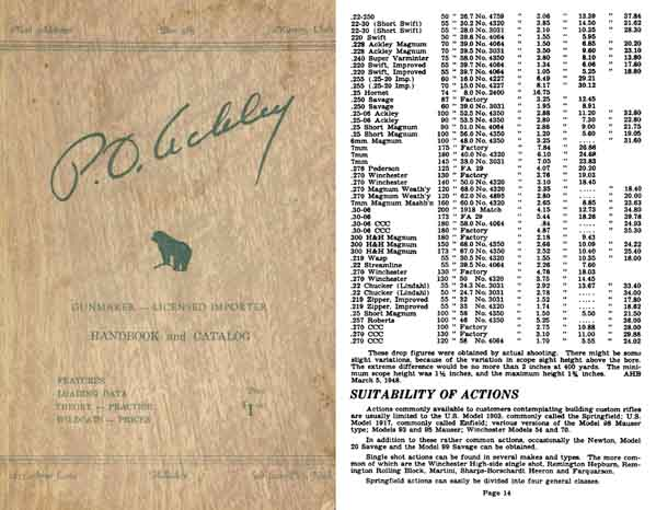 Ackley, Parker O. c1953 Handbook for Shooters & Catalog