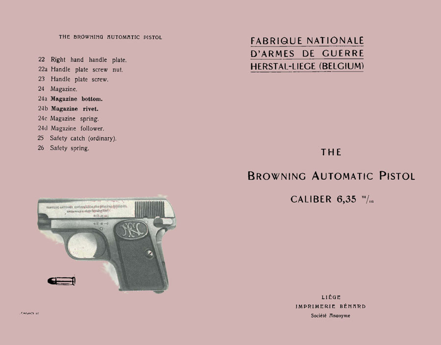Browning 1920 (circa)- Baby FN Auto Pistol 6.35 Manual