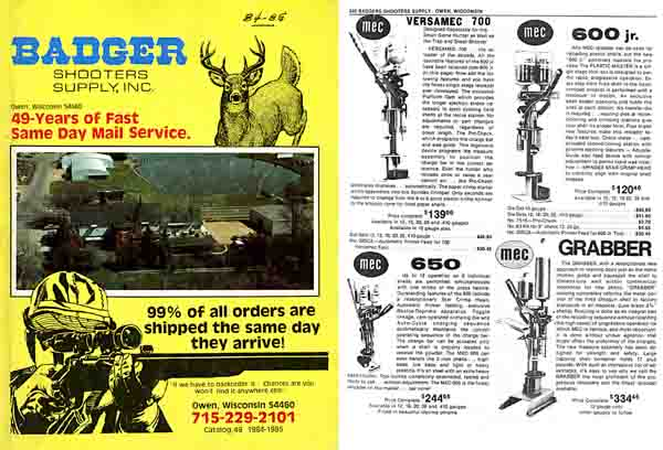 Badger Shooter's Supply, Inc 1984-85 Catalog- Owen WI