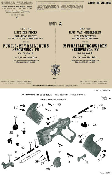 Browning 1961 Automatic Rifle BAR FN-D Parts- French & Dutch- Manual