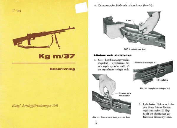 Kulsprutegevar m/21-m/37- Manual Swedish Browning Automatic Rifle Beskrivning