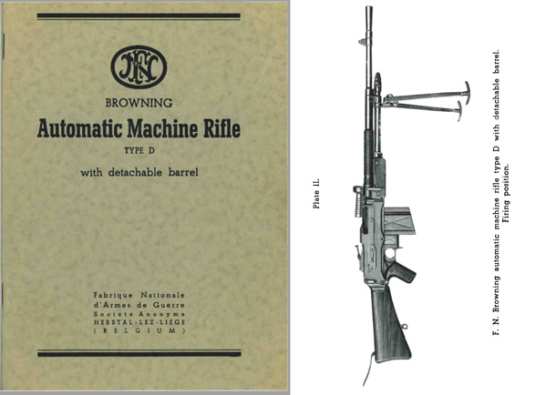 Browning 1950 Automatic Rifle BAR Type D- FN Manual & Description