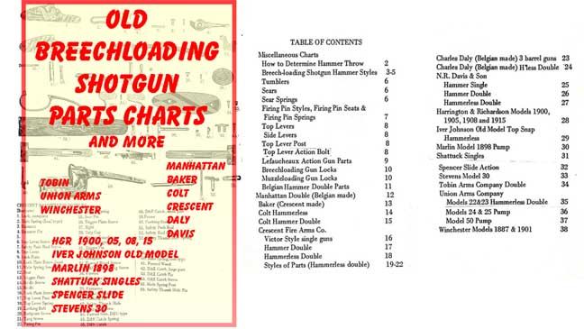Breechloading Shotgun Old Parts Chart